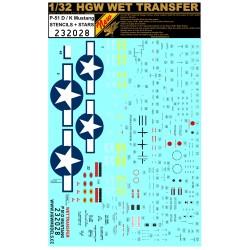 P-51 D/K Mustang - Stencils + Stars - 1/32 - 232028
