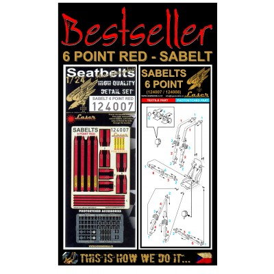 Sabelt 6 Point Red - Seatbelts 1/24 - 124007