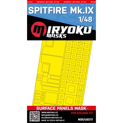 SPITFIRE Mk.IX -  SURFACE PANELS MASK - 1/48 - MIR/48011