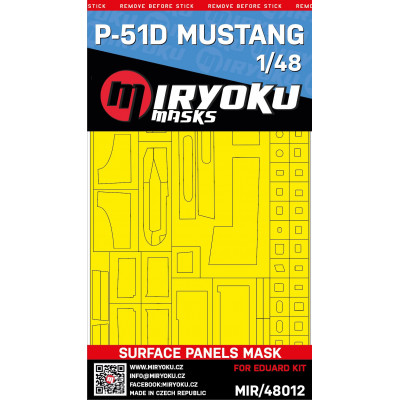P-51D MUSTANG -  SURFACE PANELS MASK - 1/48 - MIR/48012