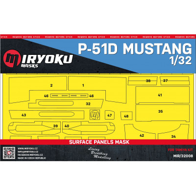P-51D MUSTANG -  SURFACE PANELS MASK - 1/32 - MIR/32008
